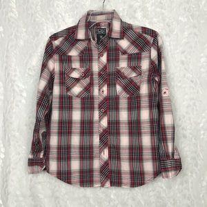 Point Zero red black plaid shirt 2 front pockets M